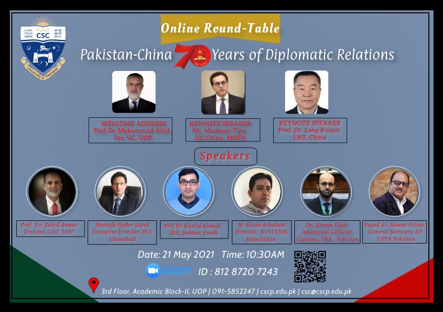 """INTERNATIONAL ONLINE ROUNDTABLE: """"PAKISTAN AND CHINA: 70 YEARS OF DIPLOMATIC RELATIONS"""""""